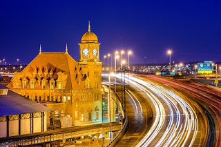 Shot of Richmond's main street station at night