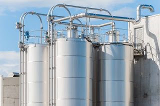 Industrial silos at a chemical plant